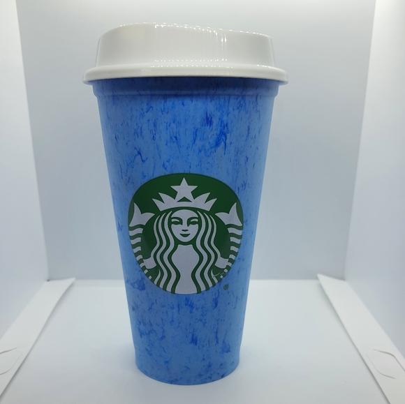 Starbucks Blue Marble Print Reusable Cup
